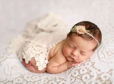 Meredith Klapp Photography, sweet girl newborn photo with lace and crochet