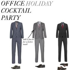 For the Gents: Don a Dark Grey Suit Nothing will make you look more distinguished than a well-fitting, charcoal grey suit. Dress it up for your holiday party with a simple striped shirt (like a lighter gray and white to keep it in the same color family as the suit) and a tie that has a little more pizzazz. It may take trying on a couple of ties to figure out which one looks best with your stripes, but choose something that reads fun and festive!