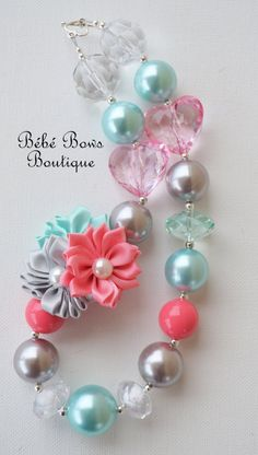 Coral Floral Chunky Necklace by BebeBowsBoutiqueBBB on Etsy, $17.00