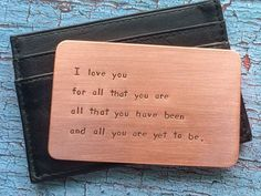 Personalized Anniversary Gift for Men Hand Stamped Copper Wallet Insert Metal Card Year Dad Father's Day Men Groom Husband Boyfriend - - giftsforboyfriendlongdistance Meaningful Gifts For Boyfriend, Gifts For Boyfriend Long Distance, Romantic Gifts For Boyfriend, Diy Christmas Gifts For Boyfriend, Boyfriend Gifts, Sentimental Gifts For Men, Boyfriend Day, Perfect Boyfriend, Christmas Ideas