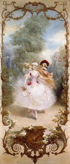 Rococo styled vintage illustration! Beautiful! Rococo isn't usually my thing, but this one's so soft and ethereal.