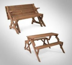 Folding Picnic Table To Bench= $164/pin by www.detaildesigngroup.com