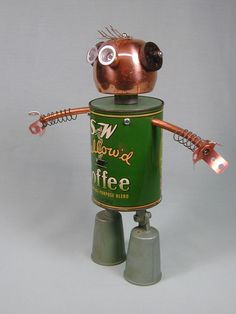 """Coffee"" Found Object Robot Sculpture Assemblage by Sally Colby 