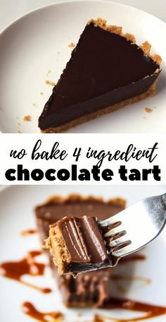 Best ever 4 ingredient no bake chocolate tart recipe that is so easy and yummy!! #nobake #chocolate #tart #sinful #easy #delicious #homemade Easy Tart Recipes, Fun Baking Recipes, Sweet Recipes, Snack Recipes, Cooking Recipes, Snacks, Delicious Desserts, Yummy Food, Yummy Dessert Recipes
