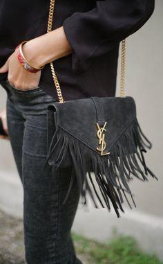 Suede YSL bag with fringe. Sac Yves Saint Laurent, My Bags, Purses And Bags, Bruna Marquezini, Sacs Design, Fashion Bags, Womens Fashion, Fashion Mode, Street Fashion