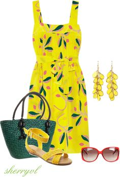 """Yellow Print For Summer"" by sherryvl"