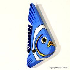 Fish Art Handpainted on Reclaimed Wood Board Blue by TaylorArts