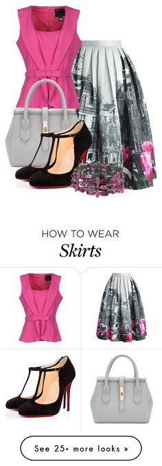 """Tulip Town Pleated Skirt"" by ljbminime on Polyvore featuring Chicwish, Class Roberto Cavalli and Christian Louboutin"