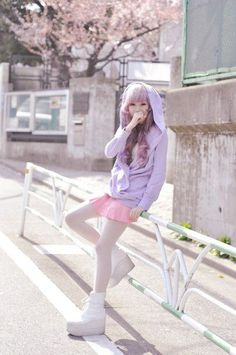 (1) purple sweater and pink skirt, japanese fashion street.   Pastel Kawaii   Pinterest