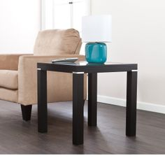 Furnituremaxx Phoebe Black Glass Surface End Table : End Tables