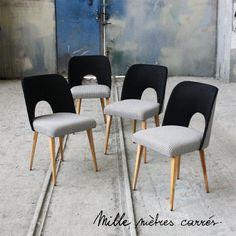 Lot de 4 chaises vintage des années 60 pied de poule Mille m2
