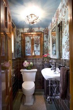 For the powder room bath - 99 Stylish Bathroom Design Ideas You'll Love on HGTV Small Country Bathrooms, Beautiful Small Bathrooms, Bathroom Small, Downstairs Bathroom, Master Bathroom, Tiny Powder Rooms, Powder Room Design, Bathroom Wall Decor, Bathroom Ideas