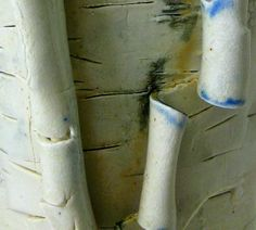 Close up, blue birch vase