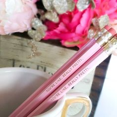 YOUR LIKE REALLY PRETTY.  The latest release in the new #pencil sets in the @Sugarluxeshop!!! Available in coral pink hot pink blush pink and black for your home #office or any writing that needs a touch of glam! These  #pencils are engraved with gold.  Want them to say something else? We do customs as well!  #blush #blushpink #goldfoil #pinkpencil #desk #mardigras #champagnequotes #moet #formation #moetchandon #homeoffice #SuperbowlSunday #champagneisalwaystheanswer #glam #weddinggift…
