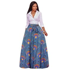 Plus Size Long Skirts Women Print Ball Gown Autumn Winter New Arrival Floral Rose Printed Sash Elegant Party Maxi Skirt Midi Skirt Outfit Casual, Long Skirt Outfits, Long Maxi Skirts, African Fashion Skirts, African Dress, African Outfits, African Attire, African Dashiki, African Clothes