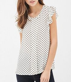 Black and White Polka Dot Blouse Ruffle Sleeves - Summer Top