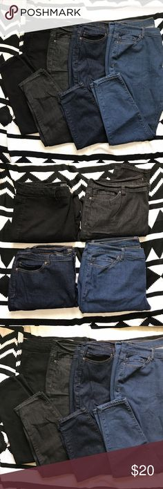 """F21+ 4-Pack Skinny Jeans. F21+ 4-Pack Skinny Jeans. All are size 20. From left to right jean colors are black, gray-black, indigo, and medium wash. All have been worn once or twice. Like new condition. All are """"short"""" fit, but fit like regulars on me and I'm 5""""7. Approximate measurements: length: 38.5 in Forever 21 Jeans Skinny"""
