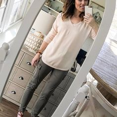 See below for sources!!   .  .  What up, buddies!  Today #MomGotDressed in record time, quickly grabbing from the #CottonStemCapsule and rushing out the door to school drop off.  HalleLUYER for easy outfits on the dreaded get-all-five-of-us-out-of-the-car-and-freaking-walk-inside-to-drop-off-the-preschooler-who-could-care-less-that-you-want-to-kiss-her-goodbye mornings.  Pre-capusle days left me stumbling bleary-eyed into my closet on these mornings that I'd have to actually be S...