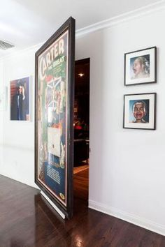 Full size print hides secret passage. how cool would that be to hide a man cave?…