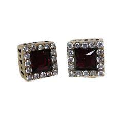 Ruby & Topaz Earrings Vintage Sterling Silver by LeesVintageJewels