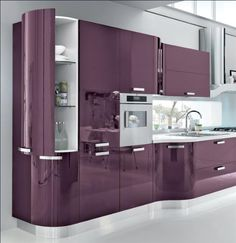 Impressive Tips: Contemporary House Color contemporary entryway shoe storage.Contemporary Kitchen Home contemporary industrial bedroom. Kitchen Room Design, Kitchen Cabinet Design, Modern Kitchen Design, Home Decor Kitchen, Interior Design Kitchen, Kitchen Furniture, Purple Kitchen Cabinets, Purple Kitchen Designs, Gloss Kitchen