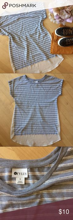 Mixed media gray + white Stripe tee with chiffon Super cute gray and white cream striped tee shirt. Chiffon with a pleat on the lower back. Rolled sleeve. White stripe is like a Lacey crochet. Super cute under a jean jacket. Only worn a few times, excellent condition. Stylus Tops Blouses
