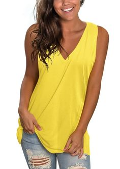 Basic V Neck Sleeveless Shirts Side Split Tunic Tank Tops – Sampeel Tunic Tank Tops, Side Split, Sleeveless Shirt, One Piece Bikini, Autumn Summer, Everyday Look, V Neck, Summer Ootd, Feminine