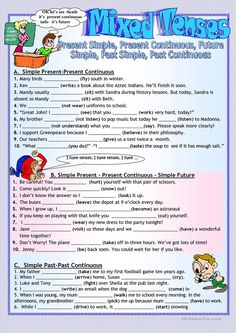 Mixed tenses Revision worksheet Free ESL printable worksheets made by teachers Verbal Tenses, All Tenses, English Grammar Tenses, English Grammar Worksheets, Grammar Lessons, English Vocabulary, English Language, English Lessons, Learn English