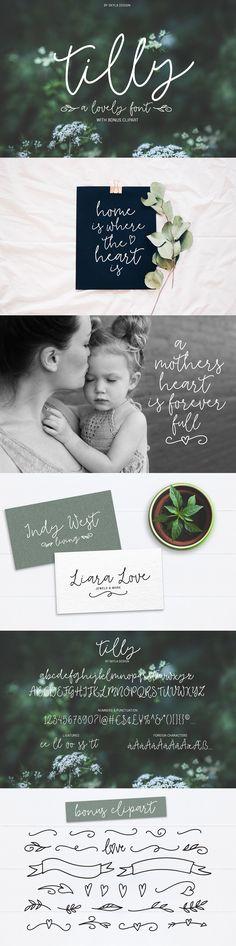 Tilly, a lovely font & bonus clipart by Skyla Design