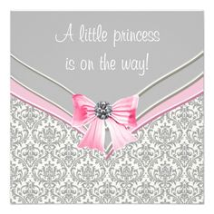 Pink and Gray Damask Pink Bow Princess Baby Shower Personalized Invite