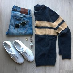 "W.W. Seattle, WA on Instagram: ""Stripes on sweaters in Seattle #wardrobeweary Stripe Sweater / @hm x @davidbeckham Cigarette Denim / @allsaints Original Achilles Low…"""
