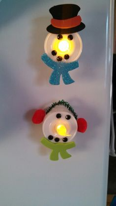 Snowman tealight magnets, Hailey and I made today. Craft for girl scout Christmas party. So easy, fun and cute.