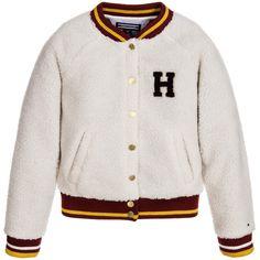 Tommy Hilfiger - Girls Ivory Synthetic Sheepskin Varsity Jacket |