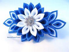 Handmade Kanzashi fabric flower grosgrain ribbon french