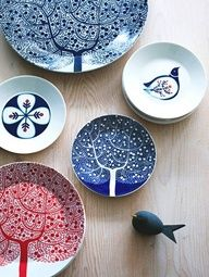 Bird and tree plates