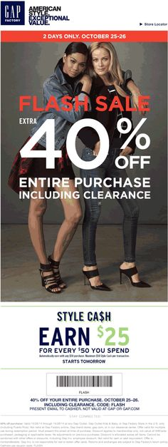 Pinned March 11th: 40-50% off at #Gap #Gap Outlet & #Gap Factory or ...