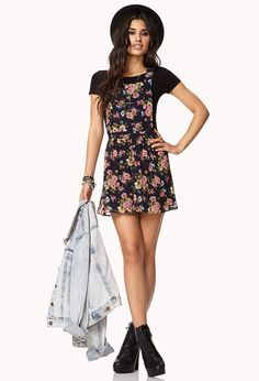 Garden Flower Overall Dress | FOREVER21 So not over overalls #Floral #Overalls #Dress