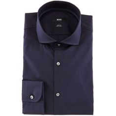 Boss Hugo Boss Jery Textured Solid Slim-Fit Dress Shirt ($240) ❤ liked on Polyvore featuring men's fashion, men's clothing, men's shirts, men's dress shirts and blue