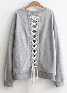 #rotita.com - #unsigned Long Sleeve Lace Up Back Sweatshirt - AdoreWe.com