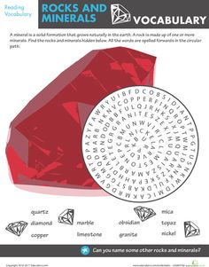 Worksheets: Find the Rocks and Minerals Vocabulary