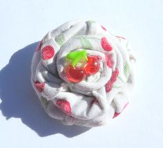 Fabric Flower Rosette Cherry Cab by Treasure2Remember on Etsy, $1.99