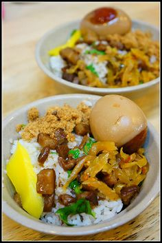 Taiwanese braised pork rice w/ egg 肉燥飯 Chinese Recipes, Chinese Food, Asian Recipes, Food N, Good Food, Rice Pasta, Taiwan Food, Braised Pork, Asian Foods