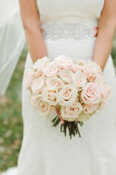 Pale Pink Rose Bouquet |  Photography: Jeff Loves Jessica -See more: http://stylemepretty.com/2013/03/27/minnesota-wedding-from-jeff-loves-jessica/
