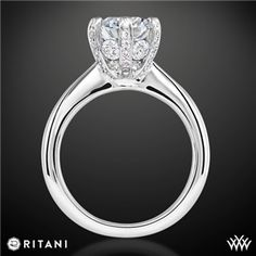 Ritani 6 Prong Solitaire Engagement Ring. The small stacked diamonds