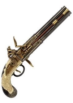Replica Double Barrelled Turnover Flintlock Pistol – made by W.Bailes, United Kingdom, 1750. This replica Pirate pistol is a beautifully crafted copy of an 18th Century pirate flintlock pistol with a double barrelled mechanism that can be rotated allowing two shots to be fired before requiring a reload.