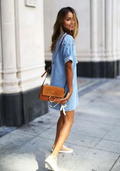STORETS denim dress CHLOE Faye bag COMMON PROJECTS sneakers http://FashionCognoscente.blogspot.com