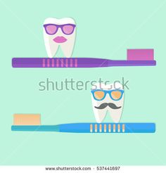 Toothbrushes and teeth in glasses. Protection of teeth. Vector illustration.