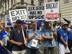 On the Peoples Vote March Sat 23rd June. London, UK. #PeoplesVoteMarch #PeoplesVote Pictured with placards: Paul Morrison, Vic Seidler, Andy Porter. Brexit has no upside; Brexit is Broke; Exit Brexit.