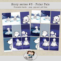 SoMa Design: Polar Pals Cards Digital Scrapbooking, Comics, Cards, Design, Cartoons, Maps, Comic, Playing Cards