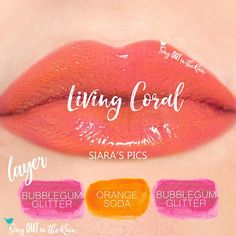 Learn to mix it up. Use LipSense Mixology to create this Living Coral LipColor by layering Limited Edition Bubblegum Glitter and Orange Soda.  Living Coral is the PERFECT match to the 2019 Pantone Color of the Year.  Click thru to purchase yours NOW! #lipsense #mixitup